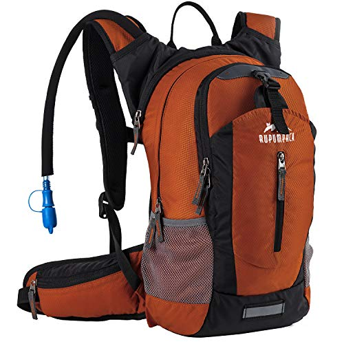 Hiking Insulated Hydration Backpack Pack with 2.5L BPA FREE Water Bladder- Keeps Liquid Cool up to 4 Hours, Lightweight Daypack For Hiking Running Cycling Camping Commuter, 18L Dark Orange