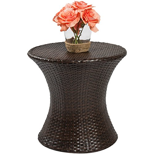 Best Choice Products Outdoor Patio Furniture Wicker Hourglass Accent Side Table