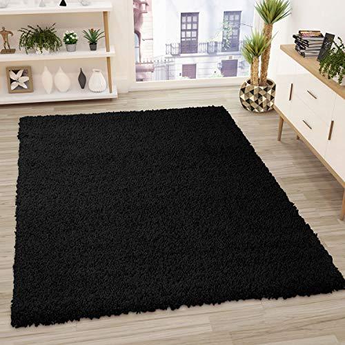 VIMODA Prime Shaggy Teppich Schwarz Hochflor Langflor Teppiche Modern, Maße:40x60 cm