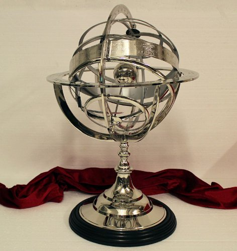 Celestial/Sphère Armillaire en acier inoxydable sur socle en bois 50,5x35,5