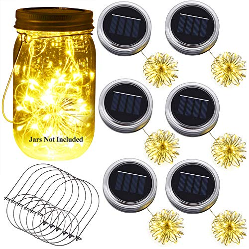 Solar Mason Jar Lid Light, Ymenow 6pcs Battery Operated Waterproof LED String Lantern with 6 Hangers Dusk to Dawn Fairy Light for Holiday Party Room Wedding Indoor & Outdoor Décor - Warm White