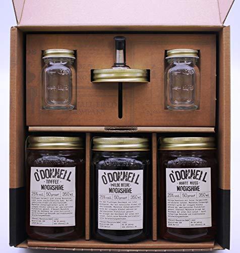 O´Donnell Moonshine Geschenkbox mit Wilde Beere, Toffee und Harte Nuss 25% vol, 3 x 350ml