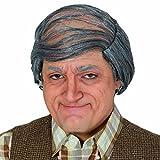 Parrucca calva Capigliatura posticcia da nonno con capelli grigi - Capelli sintetici di carnevale da vecchio Toupet festa in maschera testa pelata Chioma sintetica da uomo calvo Peli finti da nonno