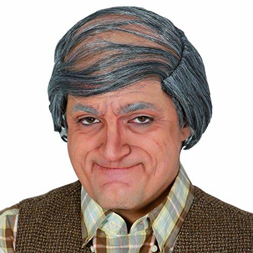 NET TOYS Glatzenperücke Opa Perücke mit grauen Haaren Karnevalsperücke Alter Mann Faschingsperücke Glatzkopf Männerperücke Glatze Herrenperücke Großvater