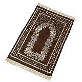 Tappetino di preghiera, tappeto di preghiera musulmana,Tappeto di preghiera di viaggio in poliestere di cotone antiscivolo, tappeto pieghevole portatile per chiesa, corridoio, campeggio