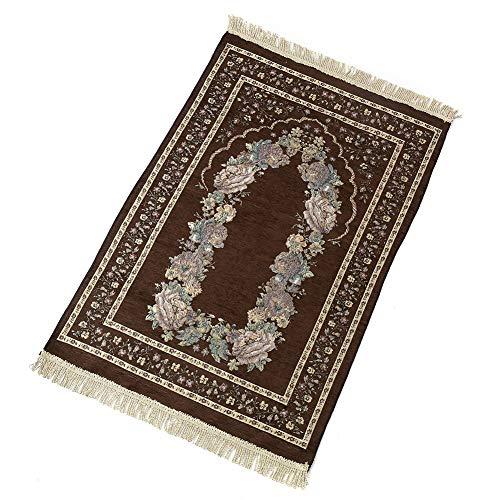Mokia Tapis de prière musulman en coton polyester antidérapant portable et pliable pour toutes occasions