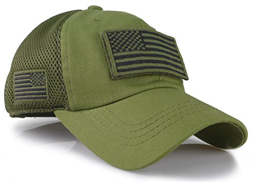 The Sox Market Camouflage Constructed Trucker Special Tactical Operator Forces USA Flag Patch Baseball Cap (Army Green)