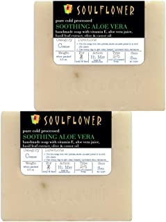 Aloevera Handmade Soap bar with Coconut Oil by Soulflower, (5.3Oz x 2 bars) 100% Natural, Organic, Vegan & Cold processed, USFDA approved -Soothing, Moisturizing and Glowing Skin - Indian Formulation