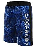 COOFANDY Herren Slim Fit Freizeit Shorts Casual Mode Urlaub Strand-Shorts Sommer Bläter(Blau, M)