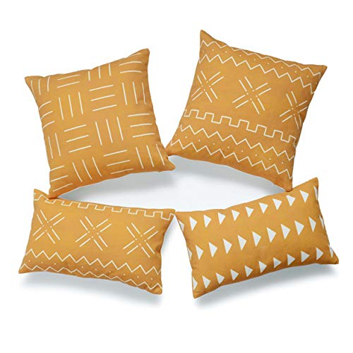 Hofdeco African Mudcloth Cushion Cover ONLY, Mustard Yellow, 45cmx45cm 30cmx50cm, Set of 4