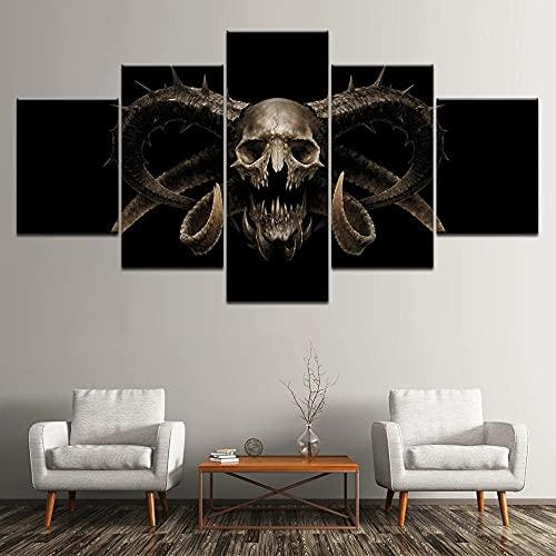 HGFDS Lienzo Impreso sobre Lienzo de 5 Piezas para Pared HD Print Resumen de Cartel de cráneo Esqueleto 5 Panel Canvas Pictures Poster Home Wall Decor Artwork Mural Foto