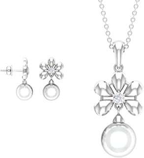 Pearl and Diamond Jewelry Set 10.20 CT, Gold Pendant and Earring Set (7 MM, 8 MM Freshwater Pearl)