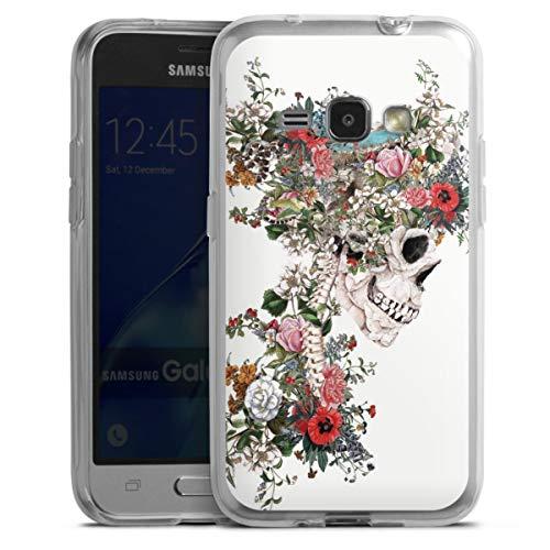 DeinDesign Silikon Hülle kompatibel mit Samsung Galaxy J1 (2016) Hülle transparent Handyhülle Riza Peker Blume Totenkopf