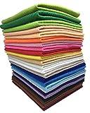 24枚 30cm x 30cm 不織布 羊毛フェルト 手芸用 厚くて柔らかいタイプ DIY クラフト 縫って作る用毛氈 カラフル24色詰め合わせ