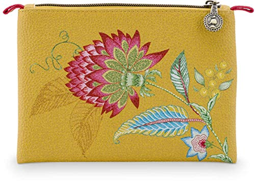 PiP Studio Cosmetic Flat Pouch Small Jambo Flower/Blurred Lines Yellow 19.5x13x1cm