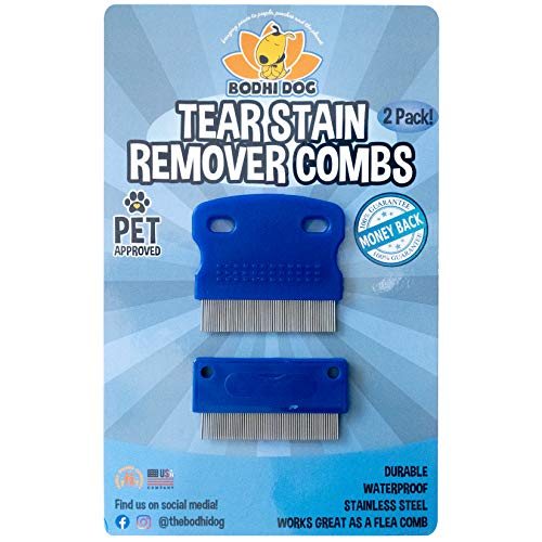Tear Eye Stain Remover Combs | Set of 2 | Clean and Remove Residue, Dirt, Buildup around Pet Eyes | Best for Dogs & Cats Fur and Coats