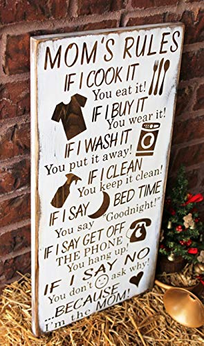 CELYCASY Mom's Rules - Wood Sign - Mom Rules - Rustic Wood Sign - Gift for Mother - Because I am The Mom Sign