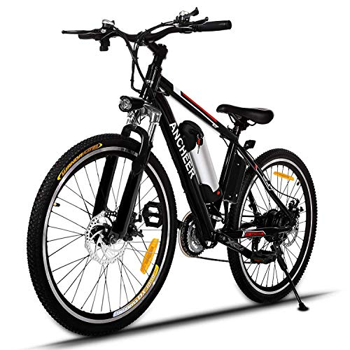 ANCHEER 2019 Upgraded Electric Mountain Bike, 250/500W 26'' Electric Bicycle with Removable 36V 8AH/12 AH Lithium-Ion Battery for Adults, 21 Speed Shifter (Black_1)