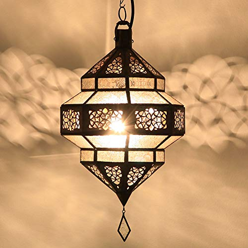 Orientalische Lampe marokkanische Pendelleuchte Maha Weiss aus Metall & Relief-Glas Höhe 45 cm | Kunsthandwerk aus Marakesch wie aus 1001 Nacht | L1799