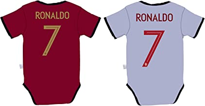 Rhinox EKSport Cristiano Ronaldo #7 Portugal Soccer Jersey Baby Infant and Toddler Onesie Romper Premium Quality - Home and Away Pack of 2