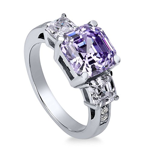 BERRICLE Rhodium Plated Sterling Silver Purple Asscher Cut Cubic Zirconia CZ Statement 3-Stone Anniversary Wedding Engagement Ring 5.6 CTW Size 6