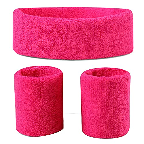 Sweatbands (Headband/Wristband Set) for Working Out,80's Costume Party Neon Pink