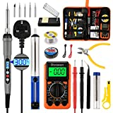 Distianert Soldering Iron Kit 19PCS, Welding Tools 60W LCD Screen, Adjustable Temperature with Digital Multimeter, Stand, Tips, Coil, Tape, Solder Sucker, Wire Cutter for Electronics Maintenance
