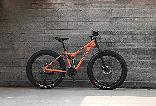 Abrahmliy Bicicletas de montaña Doble suspensión Completa para Adultos de Acero al Carbono de Alta Carbono Marco Suave deceleración Resorte Rueda Delantera Horquilla Freno de Disco mecánico 26 pulg