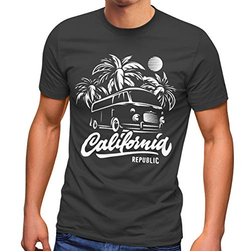 Neverless Herren T-Shirt California Surf Retro Bus Abenteuer Urlaub Palmen Slim Fit dunkelgrau XL