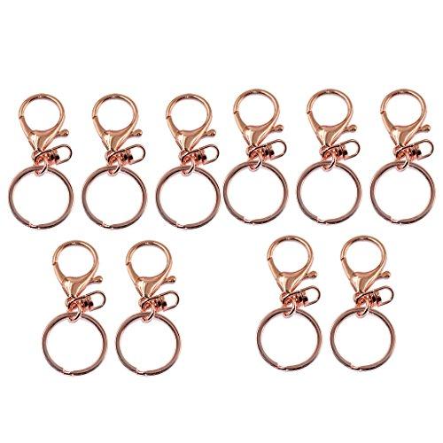 Bonarty 10 Stück Rose Gold Lobster Trigger Swivel Verschlüsse Haken Clips Schlüsselbund Schlüsselanhänger
