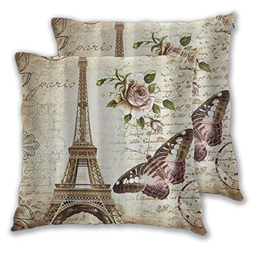 WINCAN Federe Cuscino 45x45cm,2 Pezzi Parigi Torre Eiffel Farfalla e Fiore Marrone Chiaro Decorativo per Auto Sofà Divano Ufficio Salotto Home Decor