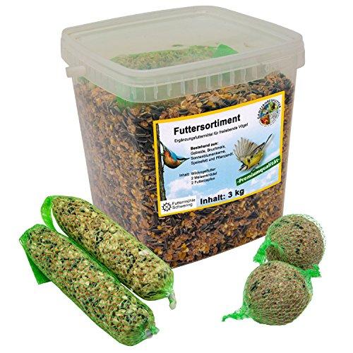 Ornigold Futtersortiment, 3 kg Eimer Futterzapfen, Meisenknödel und Streufutter
