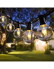 ROVLAK Łańcuch świetlny do użytku na zewnątrz, 30 + 5 żarówek zapasowych G40, łańcuch świetlny do ogrodu, na imprezę, Halloween i Boże Narodzenie, ciepły żółty