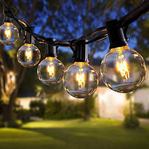 ROVLAK Cadena de Luces para Exteriores 11m G40 Impermeable Jardin Guirnalda Luces 30 Bombillas + 5 Bombillas de Repuesto Luz Blanca Cálida para Habitación Patio Fiesta Boda Navidad