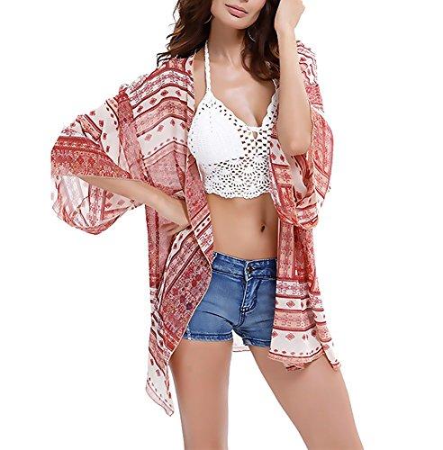 Tuopuda Mujeres Gasa Pareos Playa Manto Protector Solar Larga Vestido Traje De Baño Bikini Cubierta hasta Ropa De Playa (Rojo)
