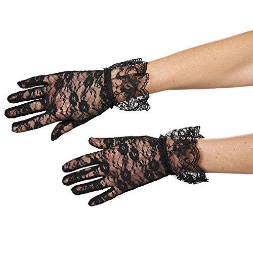 Gants avec dentelle et ruché accessoire de costume élégant noir
