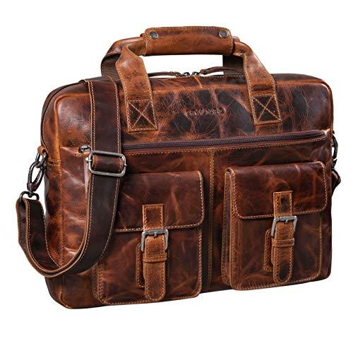 STILORD 'Frederico' Vintage Leder Aktentasche zum Umhängen für Herren Damen Laptoptasche 13,3 Zoll Umhängetasche Aufstecksystem Lehrertasche Echtleder, Farbe:Milano - braun