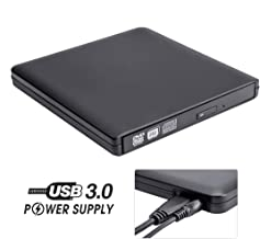 External DVD Drive with Power Supply Cable, ROOFULL Portable USB 3.0 CD DVD +/-RW Optical Drive Burner Player, Compatible for Windows 10 Laptop Computer Surface Pro Mac MacBook Pro Air iMac, Black