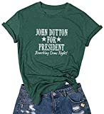 Yellowstone Shirt Funny Dutton Ranch Apparel for Women Short Sleeve TV Show Shirts Black XL