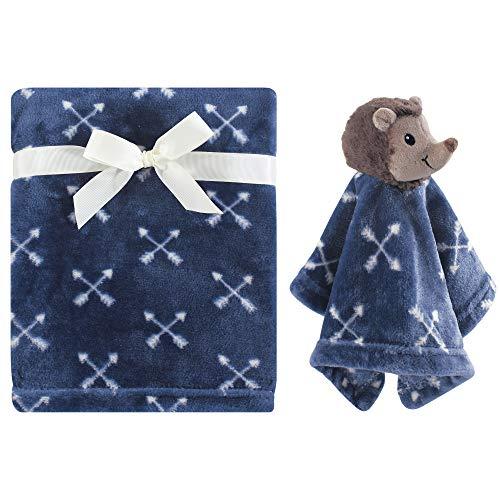 Hudson Baby Unisex Baby Plush Blanket with Security Blanket, Hedgehog, One Size