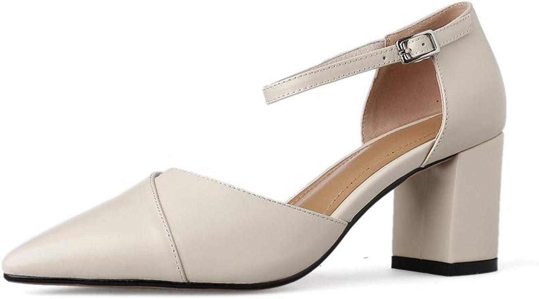 93e202ca91 Nine Seven Genuine Leather Women's Pointed Toe High Chunky Heel Cute  Handmade Concise Formal Buckle Women