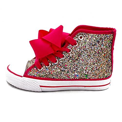 JoJo Siwa Zapatillas altas para niñas con diseño de purpurina, de moda, talla Reino Unido, color, talla 33 EU
