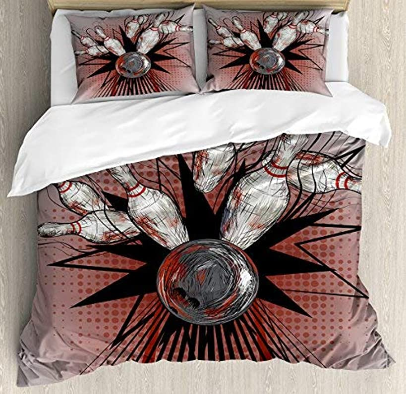 wanxinfu Bowling Party 4 Piece Bedding Set Queen Size, Bowling Ball Crashing Into Pins Retro Blast Effect Sketchy, 4 Pcs Duvet Cover Set Comforter Cover Bedspread with 2 Pillow Cases