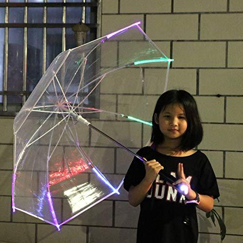 Jtxqy Paraguas, luces LED transparentes, sombrilla portátil de regalo para exteriores (sin...