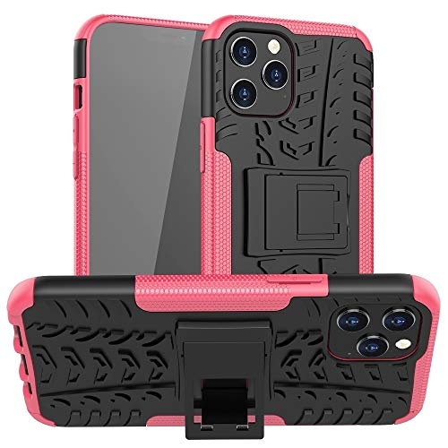 para iPhone 12 Pro MAX Tire Texture TPU + PC Funda Protectora con Titular (Color : Rose Red)