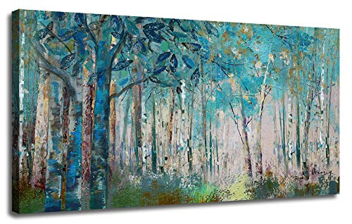 """Ardemy Canvas Wall Art Blue Tree Forest Landscape Picture Prints, Modern Birch Trees Nature Woods Abstract Painting Artwork 40""""x20"""" Wood Gallery and Framed for Home Office Living Room Bedroom Decor"""