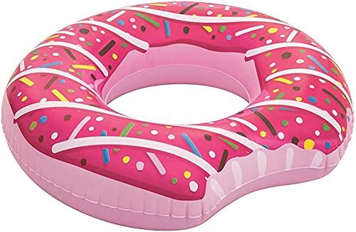 HiCollections Aufblasbare Donut-Liege, Schlauch, Pool-Spielzeug für Party, 107 cm, rosa Erdbeere