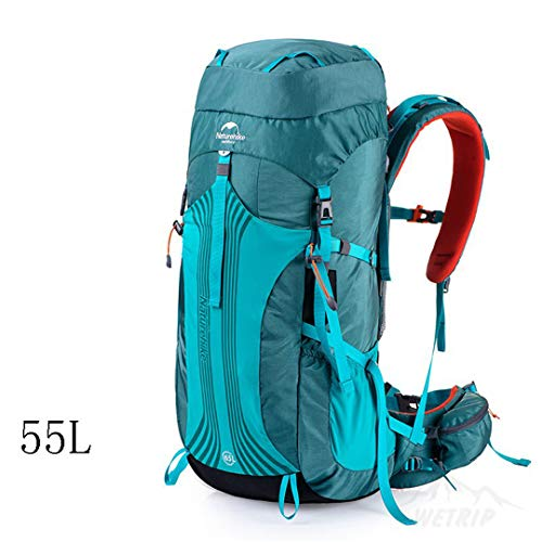 HENDTOR 55L 65L Outdoor Sports Taschen Camping Tasche Bergsteigen Rucksack Wandern Rucksack Unisex Metallrahmen Rucksäcke 55L Blue