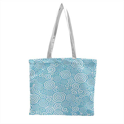 Canvas tote,Blue and White Abstract Swirls Ocean Sea Inspired Pattern in Modern Hand Drawn Style,Canvas Grocery Shopping Bags with Handles Blue and White