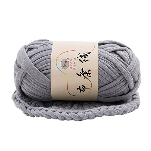 T-Shirt Yarn Fettuccini Zpagetti Style Crocheting Ribbon Yarn Knitting Yarn Ball Macrame T-Yarn Thick Fabric Yarn Grey